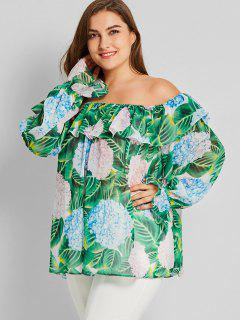 Leaf Off Shoulder Plus Size Chiffon Blouse - Green 3xl