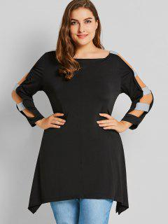 Plus Size Ladder Cut Sleeve Top - Black 4xl