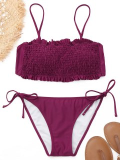 Scrunch Butt Smocked Bikini Set - Magenta M