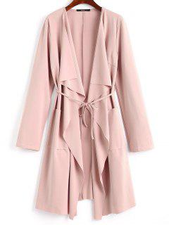Front Pockets Draped Coat - Pink S
