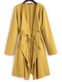 Front Pockets Draped Coat - Ginger S