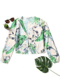 Front Tied Palm Leaf Blouse - Light Beige M