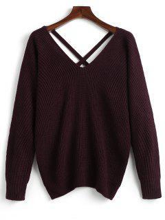 V Neck Criss Cross Pullover Sweater - Dark Red