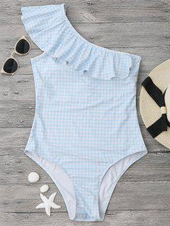 Checked One Shoulder Ruffles Swimwear - Blue And White Xl
