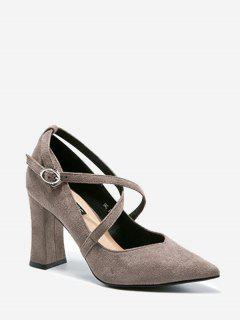 Cross Strap Pointed Toe Pumps - Gray 34