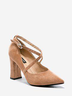 Cross Strap Pointed Toe Pumps - Khaki 34