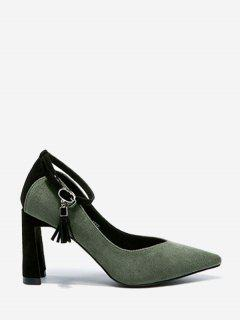Ankle Strap High Heel Pointy Toe Pumps - Green 34