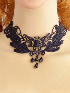 Collar De Gargantilla Floral De Encaje Ahuecado - Negro