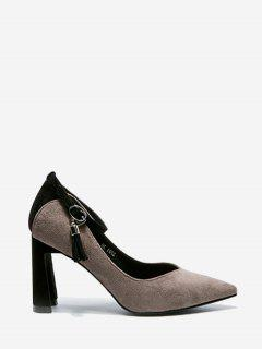 Ankle Strap High Heel Pointy Toe Pumps - Gray 34