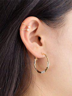Pair Of Faux Pearl U-style Earrings - Golden