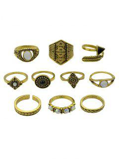 Retro Metal Band Cuff Rings Set - Golden One-size
