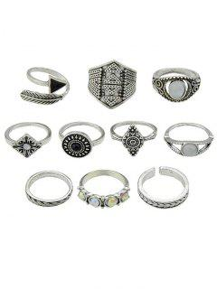 Retro Metal Band Cuff Rings Set - Silver One-size