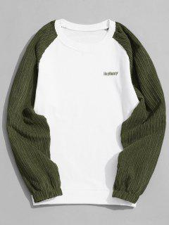 Corduroy Panel Crew Neck Sweatshirt Men Clothes - White And Green Xl