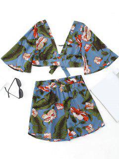 Top Corto Con Estampado Floral Bowknot Y Pantalones Cortos De Talle Alto - Azul S