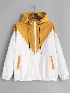 Zweifarbiger Hoodie Windjacke - Gelb M