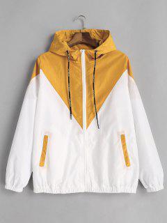 Two Tone Hooded Windbreaker - Yellow L