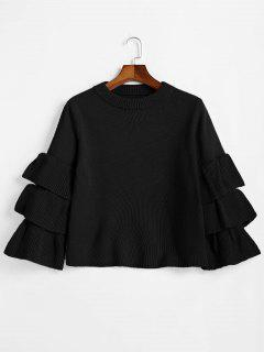 Flouncy Layered Sleeve Pullover Sweater - Black