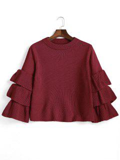 Flouncy Layered Sleeve Pullover Sweater - Wine Red