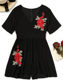 Flower Applique Cover-up Romper - Black S