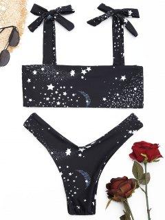 Galaxy Print High Cut Bikini Set - Black L