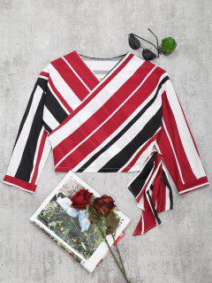 V Neck Striped Crop Wrap Blouse - Red L