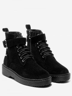 Lace Up Buckled Ankle Boots - Black 36