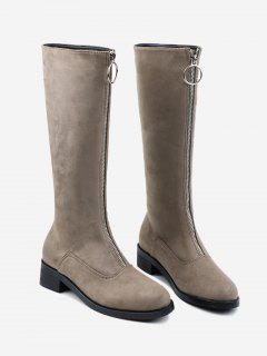 Front Zipper Chunky Heel Mid Calf Boots - Apricot 38