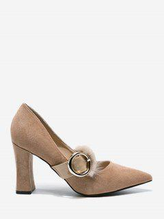 Faux Fur Buckle Strap Chunky Heel Pumps - Khaki 34