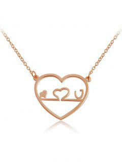 Valentine's Day Hollow Out Love Heart Shape Pendant Necklace - Rose Gold
