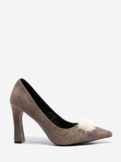 Pompom Faux Pearl Embellished Pumps - Gray 34