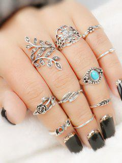 10 Pcs  Valentine's Day Leaf Flower Series Rings