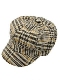Houndstooth Newsboy Hat - Khaki