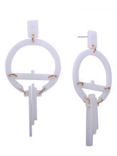 Resin Geometric Round Earrings - White