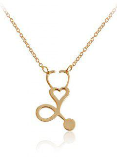 Metal Hollow Out Heart Design Pendant Necklace - Golden
