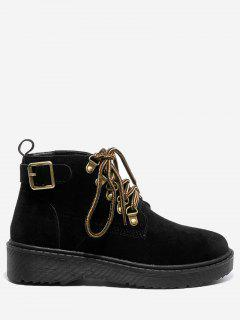 Buckle Strap Lace Up Flat Boots - Black 36