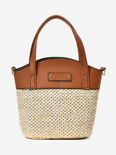 Color Block Straw Tote Bag - Brown