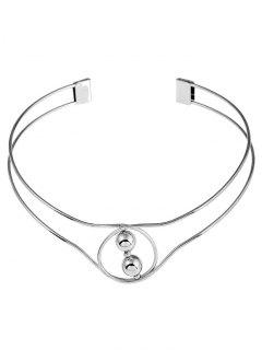 Beads Metal Cuff Necklace - Silver