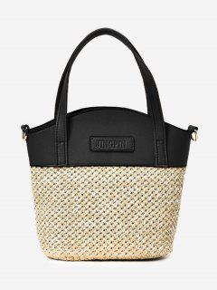 Color Block Straw Tote Bag - Black