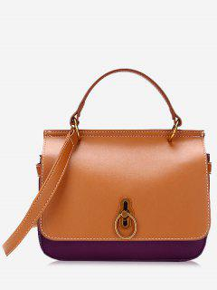 Ring Contrast Color Faux Leather Handbag - Brown