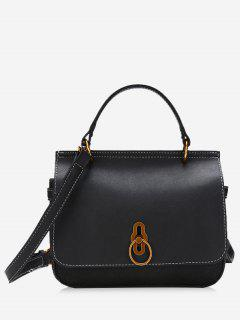 Ring Contrast Color Faux Leather Handbag - Black