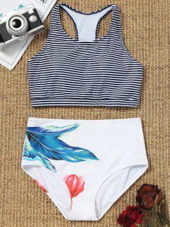 Gestreiftes Bikinioberteil Und Hoch Taillierte Hosenbeine - Weiß S