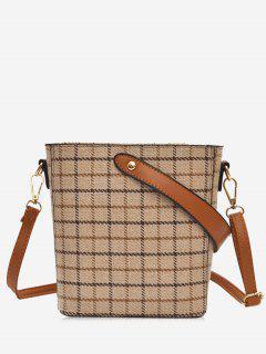 Zip Top Plaid Canvas Shoulder Bag - Beige