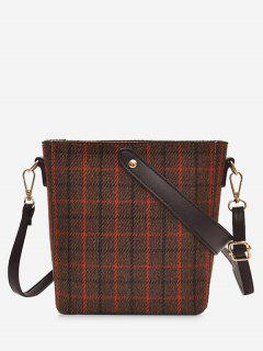 Zip Top Plaid Canvas Shoulder Bag - Brown