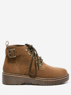 Buckle Strap Lace Up Flat Boots - Brown 36
