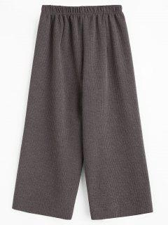 Cropped Wide Leg Pants - Gray