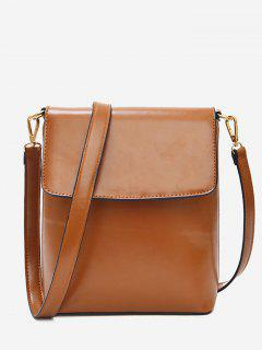 Faux Leather Minimalist Flap Crossbody Bag - Light Brown