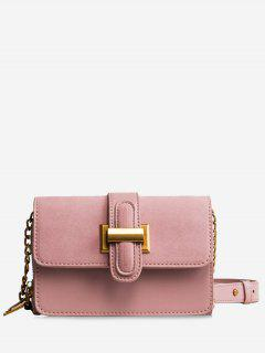 Flap Buckled Chain Crossbody Bag - Pink