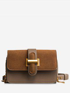 Flap Buckled Chain Crossbody Bag - Brown