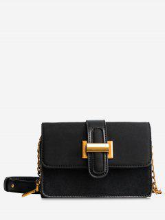 Flap Buckled Chain Crossbody Bag - Black