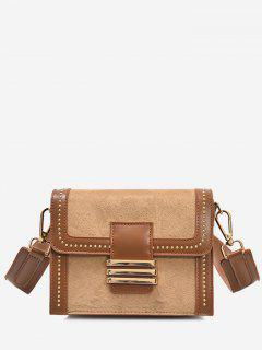 Faux Suede Studs Mini Crossbody Bag - Brown